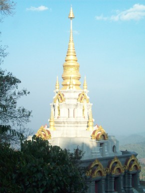 The Buddhist temple guarding Mae Salong, Thailand...