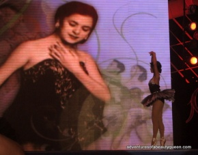 Michelle Oblea (bottom right) dances during the tribute to the grand dame of beauty and dance Joji Felix Velarde