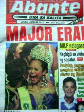 Ms Earth Philippines 2010 Psyche Resus on the front page of Abante