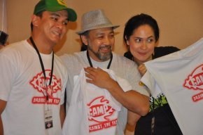 Jordan Escusa, Ron T. and the blogging beauty queen with Camp ATF tees!