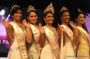Winners of Mutya ng Pilipinas 2010, L-R - 1st Runner-up Suzette Hernandez (Batangas), Mutya ng Pilipinas Intercontinental Carla Lizardo (Bicol), Mutya ng Pilipinas Tourism International Barbie Salvador (Pangasinan), Mutya ng Pilipinas Asia Pacific Ashley McGarry (East Coast USA), 2nd Runner-up Sharon Grace Angel (Lapu-Lapu City)