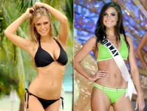 Miss USA Alexandria Mills (left) and Miss Norway Mariann Birkedal (right)