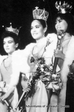 That's me in the middle, newly crowned Bb. Pilipinas Universe in 1985. Sabrina Artadi (Internationa) is on the left and Tina Alcala is on the right.