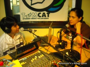 Trix Yumul a.k.a Claude 9 chatting with me on Tomsilog, one of the programs on UST's Tiger Radio!