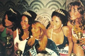 Evangeline Pascual (2nd to the right) with the rest of the court of Miss World 1973. Photo found on Missosology.com