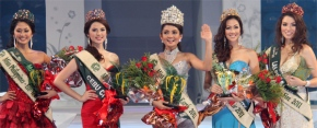 L-R Miss Eco-Tourism Tarhat Rico of Makati, Miss Water Muriel Orais of Cebu, MISS EARTH PHILIPPINES 2011 ATHENA MAE IMPERIAL, Miss Air Jonavi Quiray of Puerto Princesa and Miss Fire Michelle Gavagan of Las Pinas