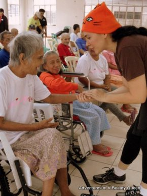 That's me in the orange beanie... with one of the Lolas...