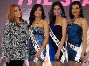 L-R... BPCI Head Stella Marquez Araneta, Dianne Necio (Bb. Pilipinas International 2011,  Shamcey Supsup (Miss Universe 2011 3rd Runner-up) and Isabella Manjon (Bb. Pilipinas Tourism 2011)