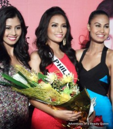 Will the winning charisma of Shamcey Supsup (left) and Venus Raj (right) rub off on Janine Tugonon (middle)