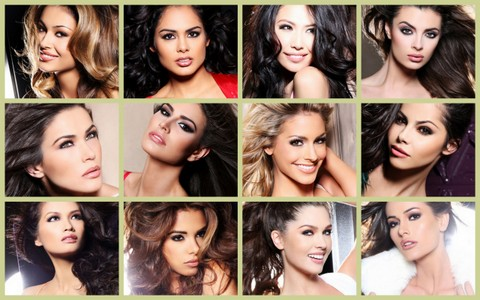 ABQ's Miss Universe 2012 Top 12 - Top Row L-R: Albania, Cayman Islands, China, Croatia. Middle Row: Kosovo, Mexico, Netherlands, Norway. Bottom Row: Philippines, Puerto Rico, Russia and Venezuela