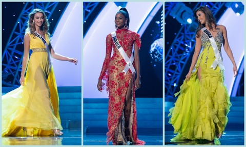 L-R - Albania (Adrola Dushi), Angola (Marcelina Vahekeni) and Aruba (Liza Helder). Evening Gown Competition Miss Universe 2012