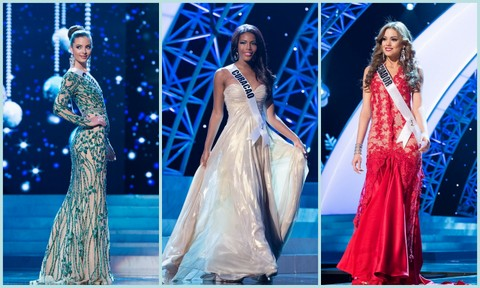 L-R - Croatia (Elizabeta Burg), Curacao (Monifa Joanne Marie Jansen) and Ecuador (Carolina Andrea Aguirre Perez). Evening Gown Competition Miss Universe 2012