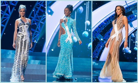 L-R - Georgia (Tamar Shedania), Guyana (Ruqayyah Boyer), Jamiaca (Chantal Jaky). Evening Gown Competition Miss Universe 2012