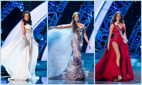 L-R - Kosovo (Diana Avdiu), Malaysia (Kimberly Leggett), Mexico (Karina Gonzalez). Evening Gown Competition Miss Universe 2012
