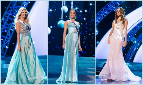 L-R - Paraguay (Egny Eckert), Philippines (Janine Tugonon), Puerto Rico (Bodine Koehler). Evening Gown Competition Miss Universe 2012