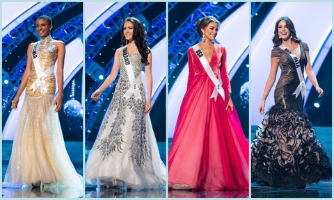 L-R - Tanzania (Winfrida Dominic), Thailand (Nutpimon Farida Waller), USA (Olivia Culpo) and Venezuela (Irene Sofia Esser Quintero). Evening Gown Competition Miss Universe 2012