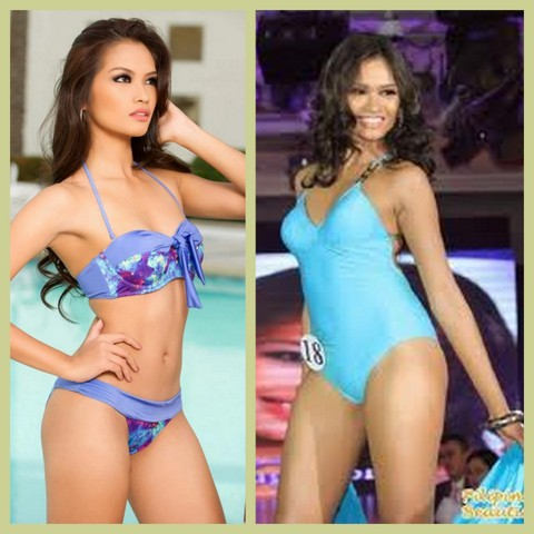 Janine Tugonon lost much weight for the Miss Universe 2012. The one-peice photo was taken during the Bb. Pilipinas 2012 and the two-piece shot was taken most recently, during the Miss Universe 2012