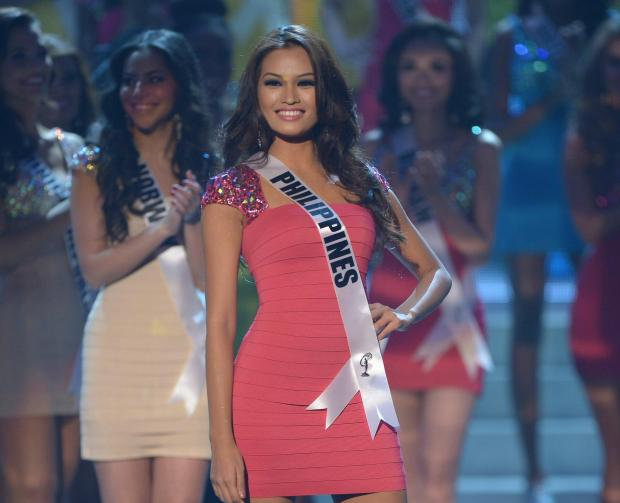 Janine Tugonon on stage at the Miss Universe 2012 Holiday Edition