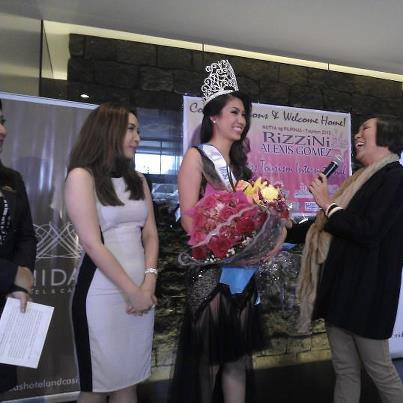 Mama Renee Salud (right) gives his message to Rizzini Alexis Gomez as Mutya ng Pilipinas President Jaquline Tan watches on