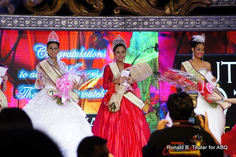Winning beauties - 1st Runner up Hazel Coral (left0, Mutya ng Cabuyao 2012 Khryzzel Medialdia (middle) and 3rd Runner-up Micah Sanchez (right)