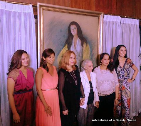 Betsy Hartendorp (3rd from right) painted this portrait of Madame Stella (3rd from left). Beauty Queens in photo - Lara Quigaman (left) with Miriam Quiambao beside her. Far left