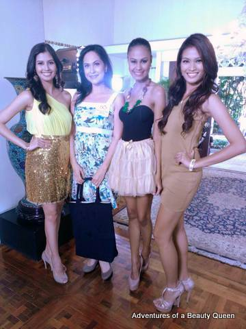 My dream photo! Here I am (in the white and green dress) with our most recent Miss Universe winners Shamcey Supsup (left), Venus Raj and Janine Tugonon (right).