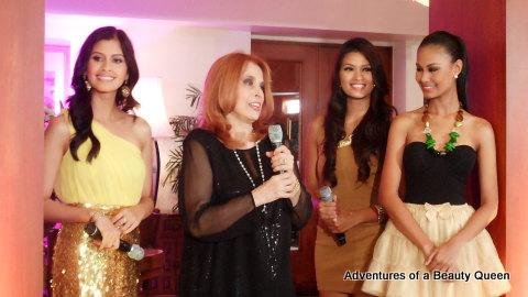 Shamcey Supsup (left), Madame Stella Marquez Araneta (with mic), Janine Tugonon (in brown) , and Venus Raj (far right)