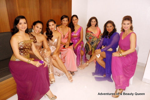 Beautiful Queens in a row... L-R Sarah Jane Paez, Anna Igpit, Maggie Wilson, Izza Gonzales, Patty Betita, Selina Manalad, Desiree Verdadero and gorgeous queen in purple...