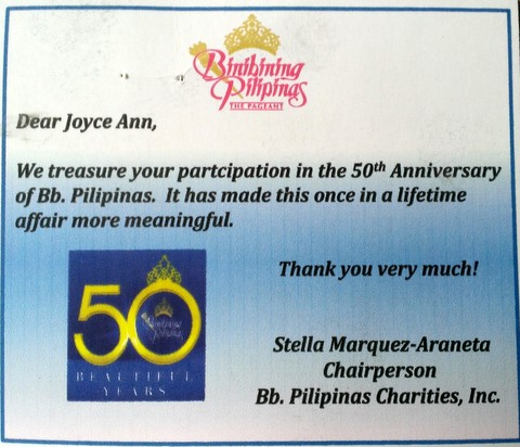 Card from BPCI... it's my honor to be part of the Bb. Pilipinas Gold 2013!