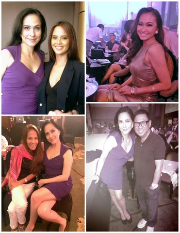 Clockwise starting top left - 1) ABQ with Analie Forbes  who was there to support candidate #32, 2) co-judge Miss Bikini Philippines 2012 Abbygale Monderin, 3) with co-judge and designer Frederick Peralta and 4) me with my pageant buddy Zeny Seifert, Mom of Miss Earth winner Sandra Seifert