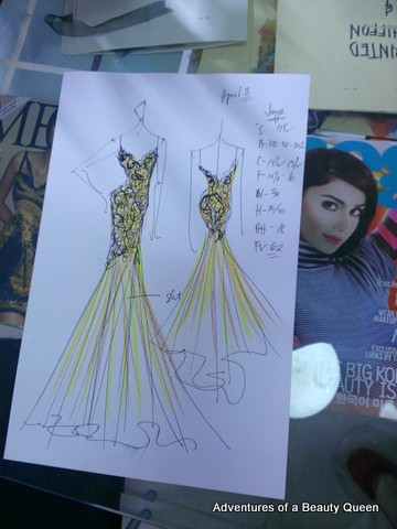 Eric delos Santos' sketch of my gown. I still can't get over how quickly he can sketch something as beautiful as THIS!