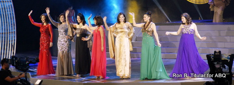 Queens from the 70s and 80s - L-R - Peachy Sacasas, Erlynne Bernardez, Chiqui Brosas, Dang Cecilio, Sharon Hughes, can't remember the Queen in green and Anette Liwanag...