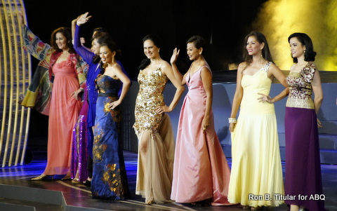 Queens from the 80s L-R Selina Manalad, two beauty queens that can't bee seen, Tina Alcala, Me in gold, Izza Gonzales in Peach, Gem Padilla in yellow and Sarah Jane Paez in