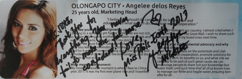 Angelee Claudett delos Reyes' first autograph as Miss Philippines Earth 2013!