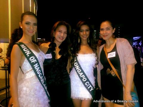 L-R - Nagcarlan (Kimverlyn Suiza), Amelia Joy dela Cruz (Miss Southeast Asia 1993), Olongapo (Angelee delos Reyes) and the blogging beauty queen!