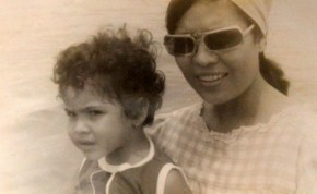 Me at age 5 (I think) with my Mom (isn't she just gorgeous). We were on a boat going to Sangley Point...