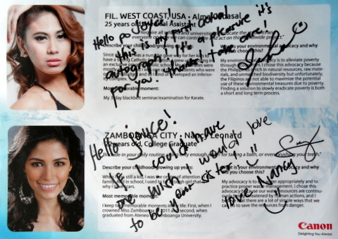 Miss Philippines Eco-Tourism Alma Cabasal (top photo) got nauseated at around midnight but we helped her recover. Below is Nancy Leonard's first autograph as Miss Philippines Water 2013