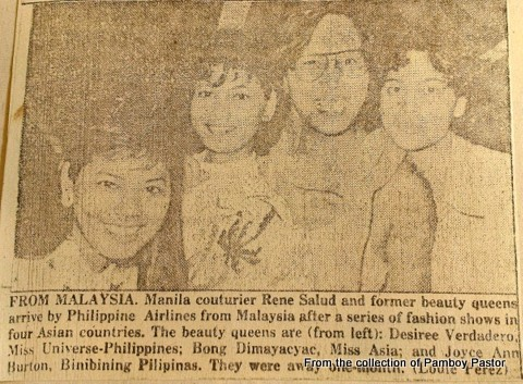 With Mama Renee (third from left) and beauty queens Desiree Verdadero (left), Bong Dimayacyac (2nd from the left). Im on the right..