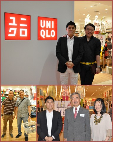 (top photo) Top society and entertainment blogger Mike Lim of Fashion Pulis together with Fast Retailing Philippines, Inc. COO Katsumi Kubota. (bottom left photo) - Jam 88.3's DJ Eric Tipan (left) together with Wave 89.1's DJ Benjie. (bottom right photo, from left) - Katsumi Kubota, Chief Operating Officer, Fast Retailing Philippines, Inc.; Hans Sy, President of SM Prime Holdings, Inc.; and Geraldine Sia, General Manager, Fast Retailing Philippines, Inc. at the opening of UNIQLO's newest store located at SM Aura Premier in Taguig City.