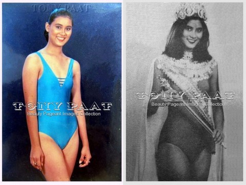 Glenah Slaton in Bb. Pilipinas 1985 (left) and as Mutya ng Pilipinas Asia 1986 titleholder (right)