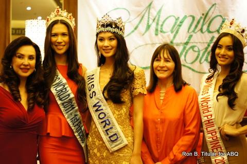 L-R Cory Quirino (MWP Directress) Gwendoline Ruais (MW 1st Princess 2011), Miss World 2012 Wenxia Yu, Julia Morley (MW Founder) and Queenie Rehman (MWP2012