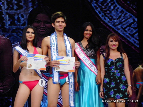 Mister and Miss Slimmers World Best in Physique 8-Imari and 16-Nate. Miss Bikini Philippines 2013 Janicel Lubina (in light blue gown) was the presenter.