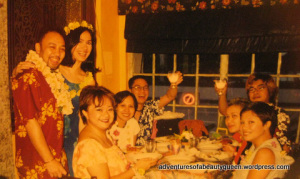 Aia de Leon is the second person from the right peeking out from behind Tabitha, the dark-haired girl. This was at my wedding...
