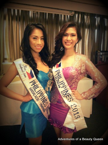 Aura Donna Garon (in blue) and Clarize Angelica Barrameda (in fuschia) are the official Philippine representatives to Miss South East Asian 2013!