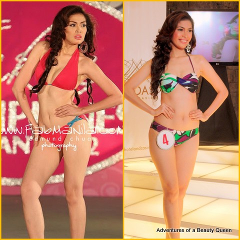Clarize Angelica Barrameda in Slimmer's Miss Bikini Philippines 2012 (left) and in Mutya ng Pilipinas 2012 (right)