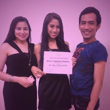 In preparation for Miss South East Asian 2013, Donna Garon completed her training with Hemilyn Escudero (left) of Total Image. Mac Taug (right) is the National Pageant Director in the Philippines.