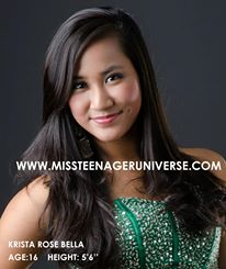 Krista Rose Bella is representing the Philippines in Miss Teenage 2013 in Panama!
