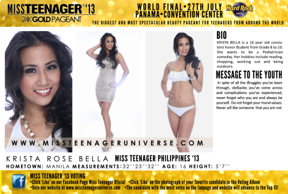 Krista Rose Bella's Miss Teenage 2013 official card