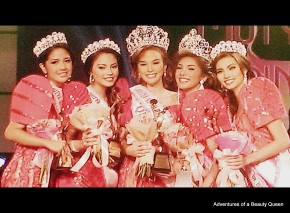 Mutya ng Pilipinas 2013 winners - L-R 2nd Runner-up #22 Kristian Aubrey Nolasco, Mutya Overseas #15 Asdis Karsdottir, Mutya Asia Pacific #21 Koreen Medina, Mutya Tourism #6 Angeli Dione Gomez and !st Runner-up #13 Maureen Montagne