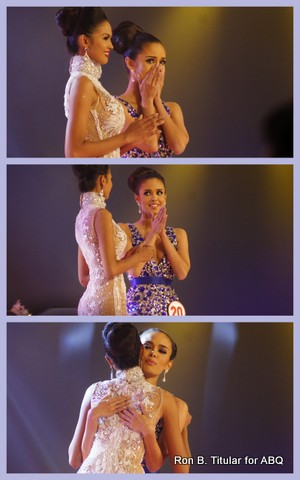 Top photo -The announcement is made and Megan is the winner! Middle - Megan acknowledges Janicel her main rival... Bottom - and gives her a hug. (MWP 2013)